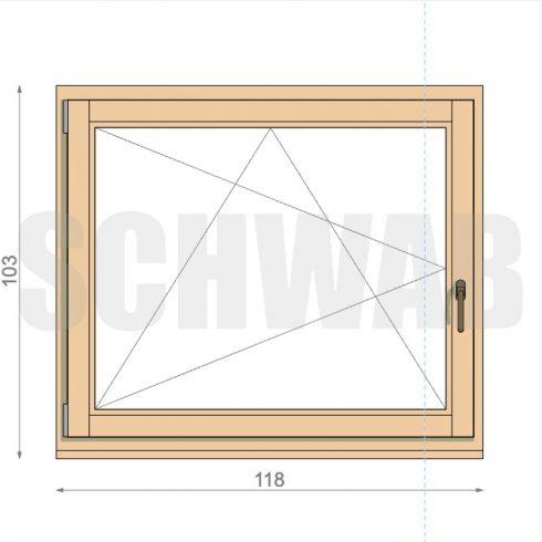120x105 cm fa ablak