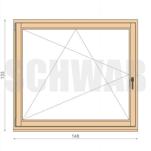 150x135 cm fa ablak