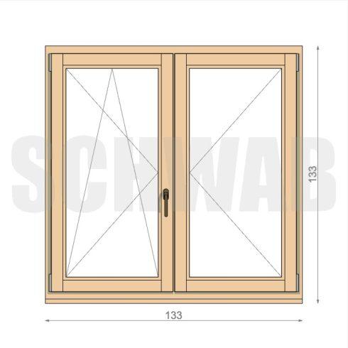 135x135 cm középen felnyíló fa ablak