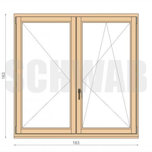 165x165 cm középen felnyíló fa ablak