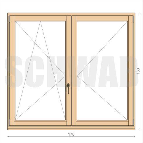 180x165 cm fa ablak