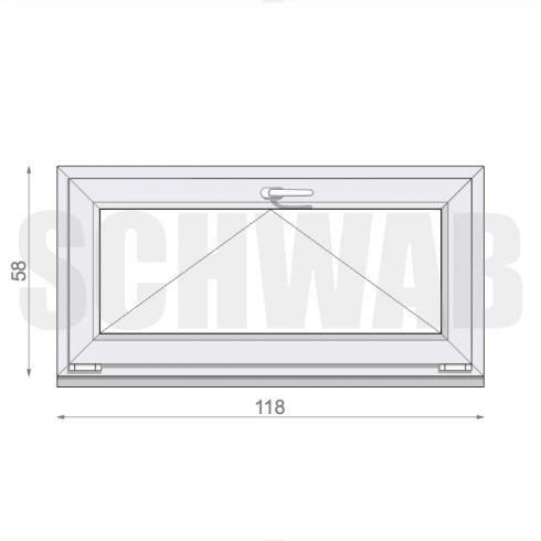 120x60 cm műanyag ablak