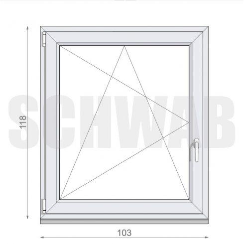 105x120 cm műanyag ablak