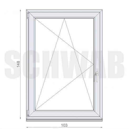 105x150 cm műanyag ablak