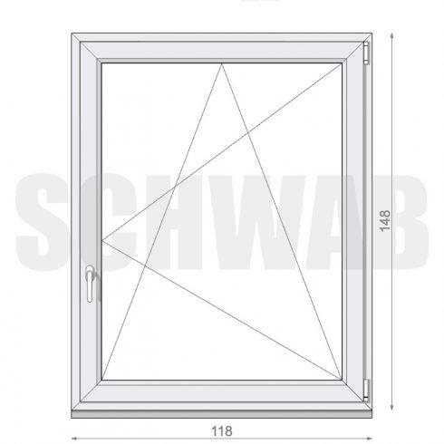 120x150 cm műanyag ablak