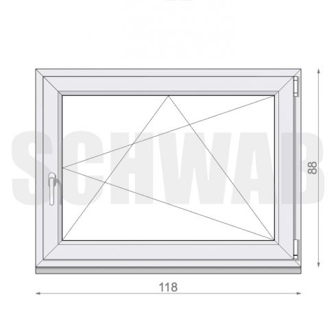 120x90 cm műanyag ablak