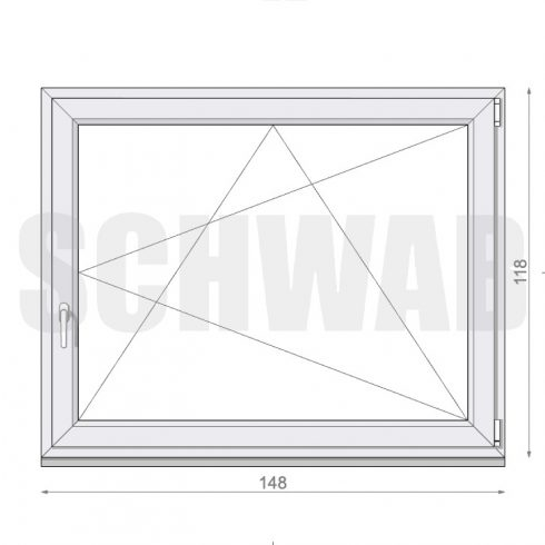 150x120 cm műanyag ablak