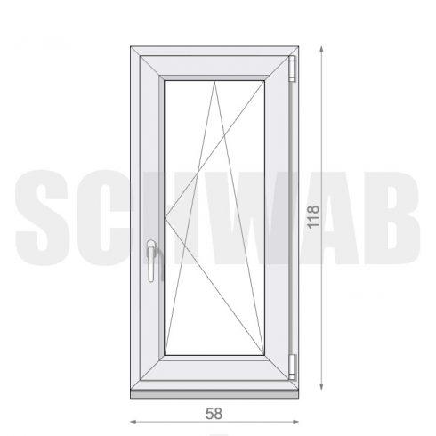 60x120 cm műanyag ablak