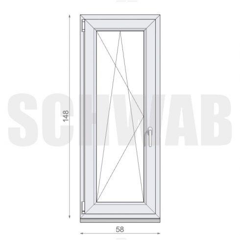 60x150 cm műanyag ablak