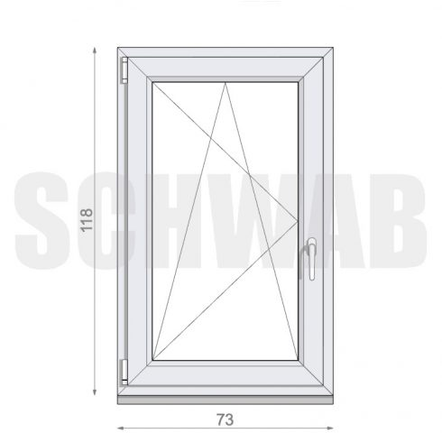 75x120 cm műanyag ablak