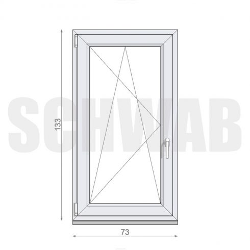 75x135 cm műanyag ablak