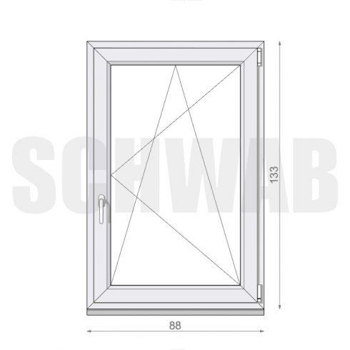 90x135 cm műanyag ablak