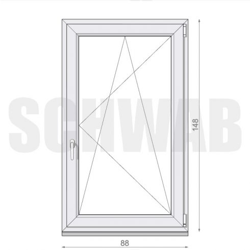 90x150 cm műanyag ablak