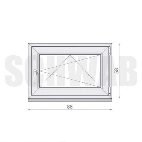 90x60 cm műanyag ablak