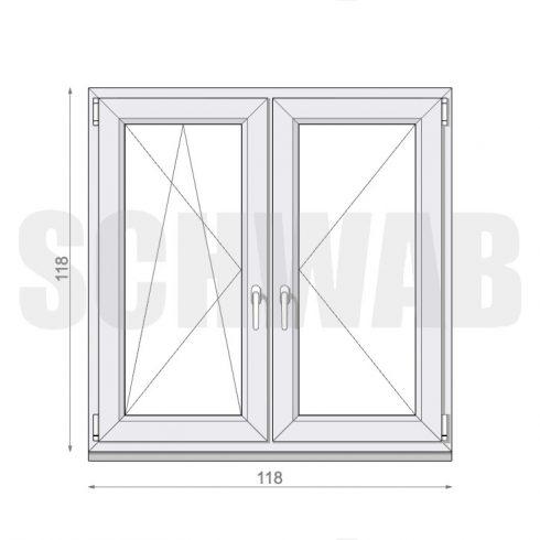 120x120 cm műanyag ablak