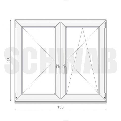 135x120 cm tokosztós műanyag ablak