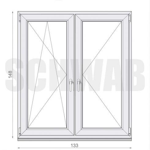 135x150 cm műanyag ablak