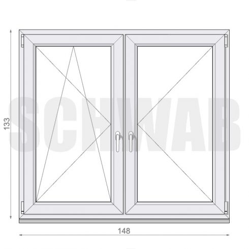 150x135 cm műanyag ablak