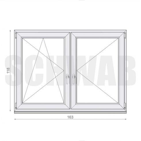 165x120 cm műanyag ablak