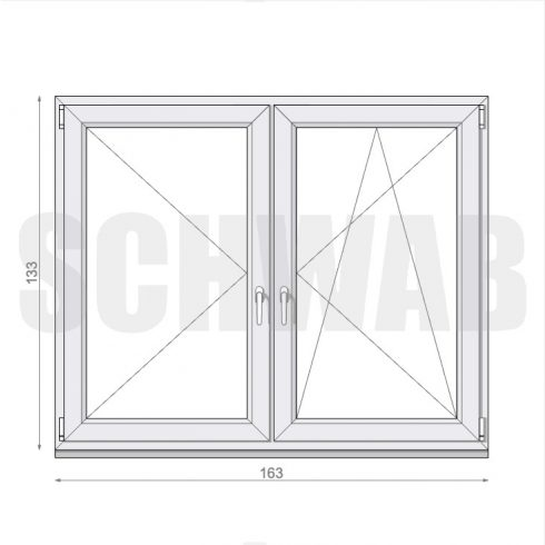 165x135 cm műanyag ablak