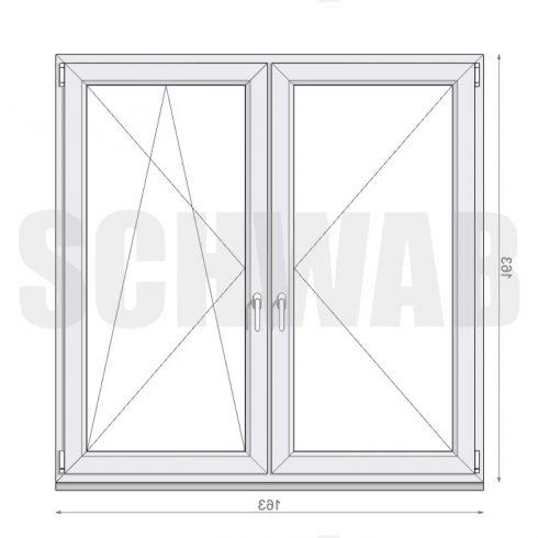 165x165 cm műanyag ablak