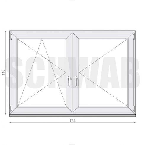 180x120 cm műanyag ablak