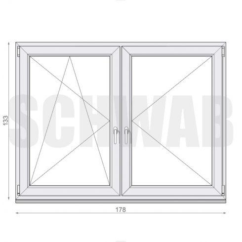 180x135 cm műanyag ablak
