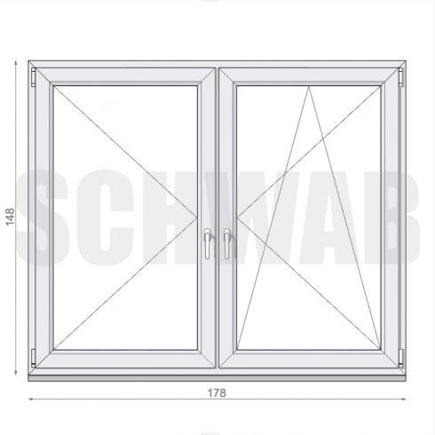 180x150 cm műanyag ablak